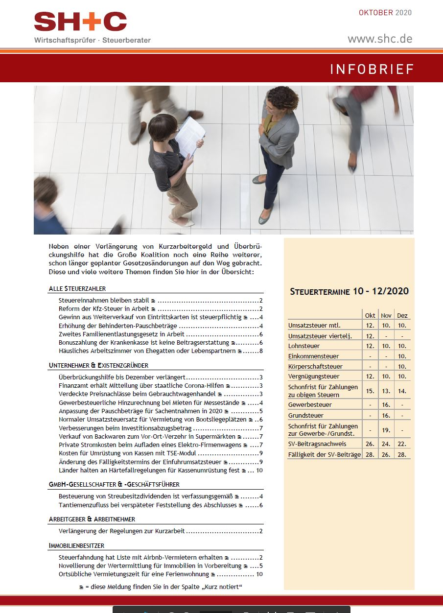 SH+C Infobrief Oktober 2020