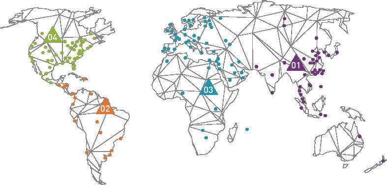 Abbildung Weltkarte mit Standorten - SH+C Wirtschaftsprüfer, Steuerberater München